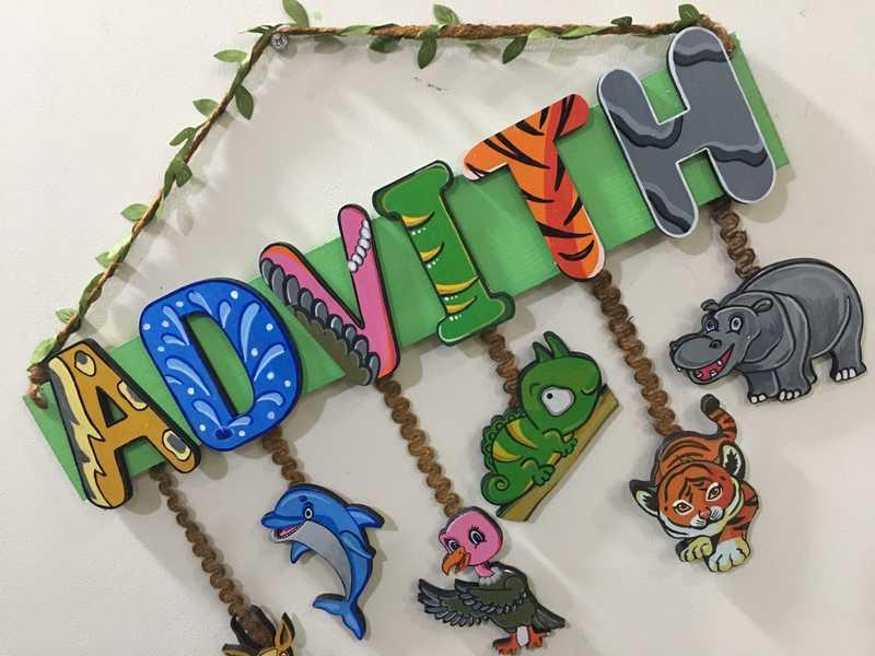 Jungle Theme Kids Name plate for Children  children name plate for kids bangalore mumbai delhi 004