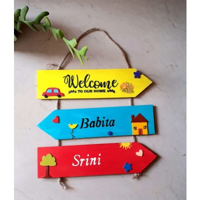 Customized Coloured Wooden Nameplate with Welcome