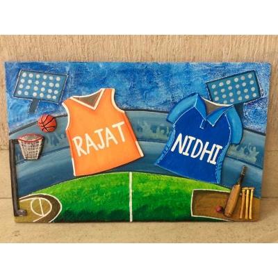 Sports Jersey Nameplate for Kids  cricket basket ball house nameplate bangalore mumbai delhi 001