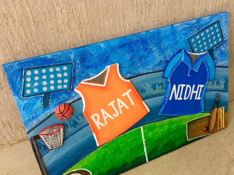Buy House Nameplate in Faridabad Gurgaon and all over India Hitchki cricket basket ball house nameplate bangalore mumbai delhi