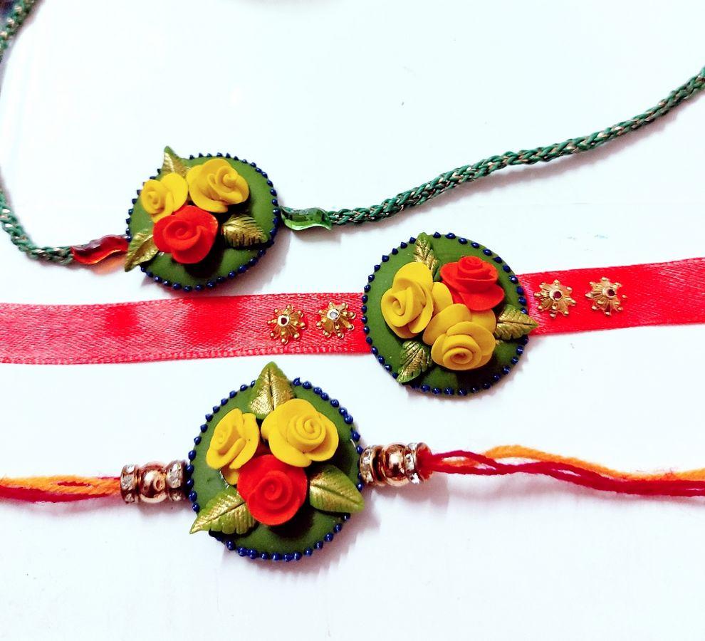 Handmade Customize Flower Rakhi For Brother  customize flower rakhi