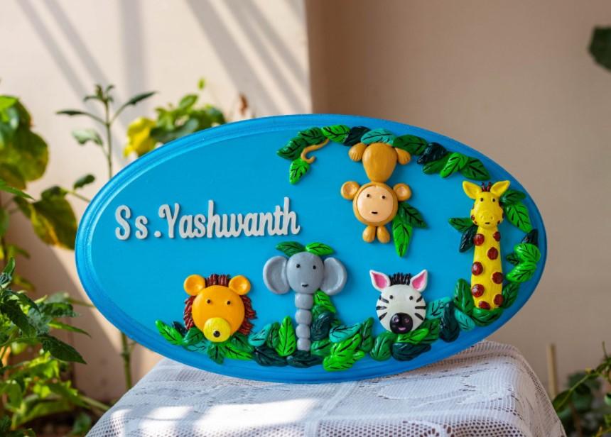 designer kids name plate for children room maker near me