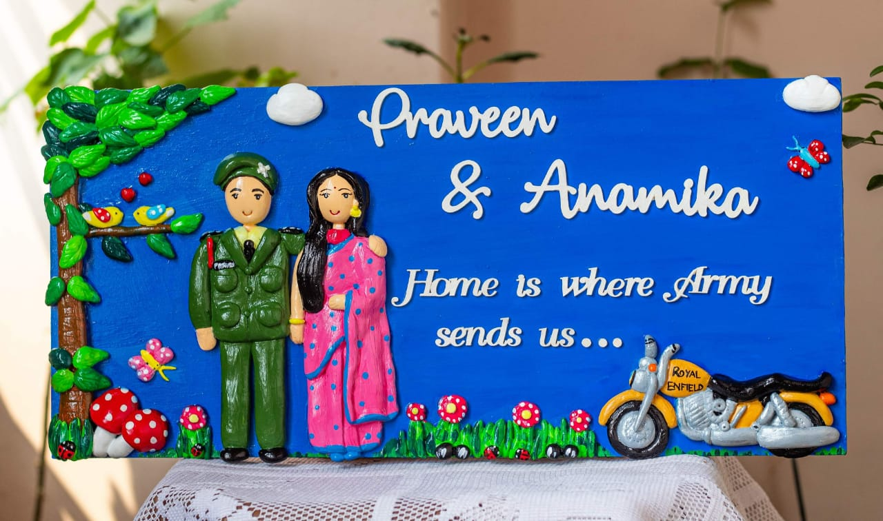 Customized Handcrafted Indian Army Themed Couple Nameplate