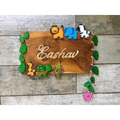 Kids Birth Capture Engraved Wooden Nameplate