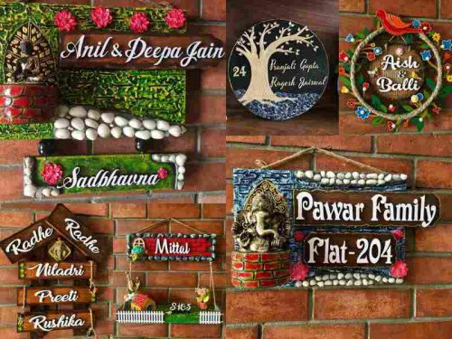 Wooden nameplate for flat, apartment, villa, home