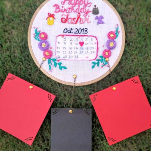 Hand Embroidered Wall Calendar Hoops-The Pink Umbrella