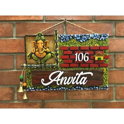 Ganesha Brick Wooden Name Plate  best handmade wooden nameplates for home