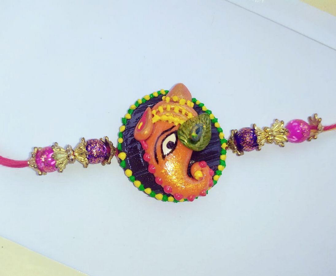 Beautiful Handmade Ganesha Rakhi  ganesha rakhi