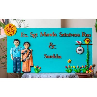 Indian Airforce Ganesha Themed Customized Nameplate  indian airforce nameplate