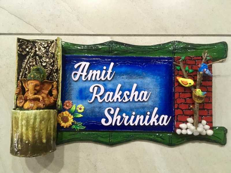 Ganesha and Birds Wooden Nameplate  hand made creative unique nameplate design 002