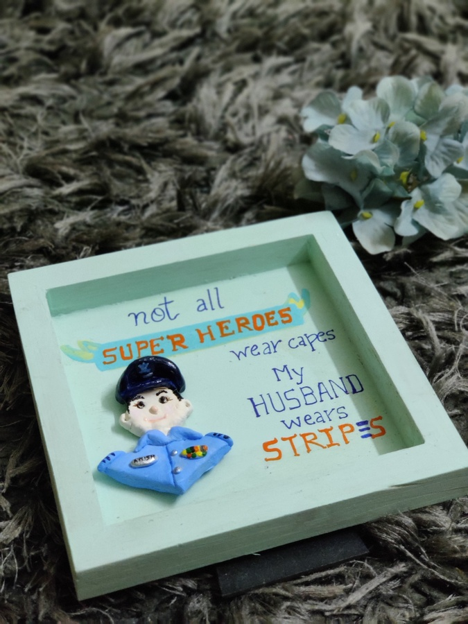 3D Custom Designed Clay Art Frame Desined for Indian Air Force  hand made home decor cocktail of thoughts hitchki 1 015