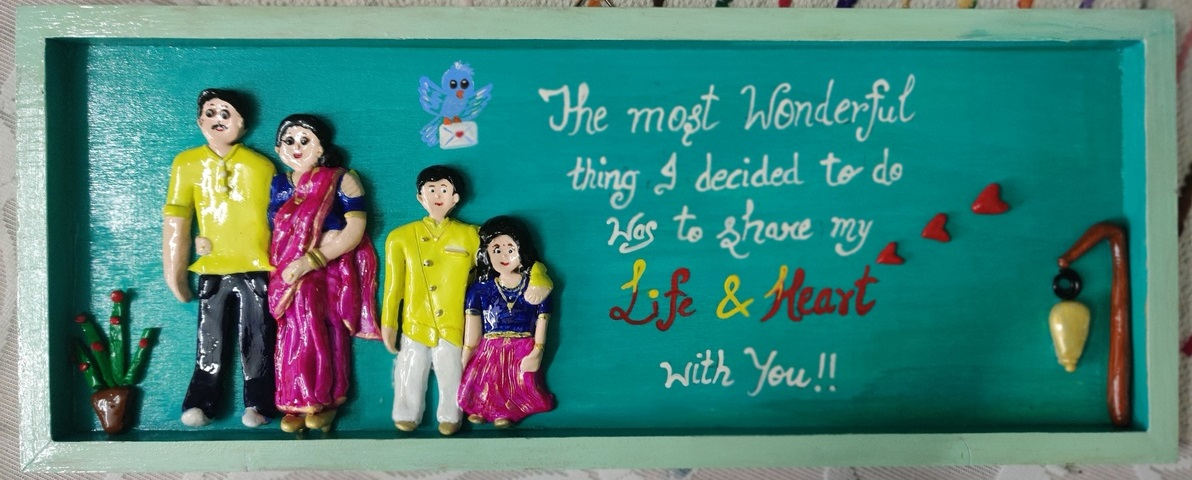 3D Customized Clay Art Family Frame Anniversary gifts  hand made home decor cocktail of thoughts hitchki 1 027