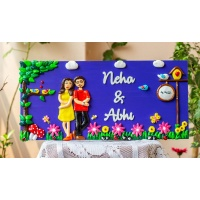 customized handcrafted couple themed beautiful nameplate