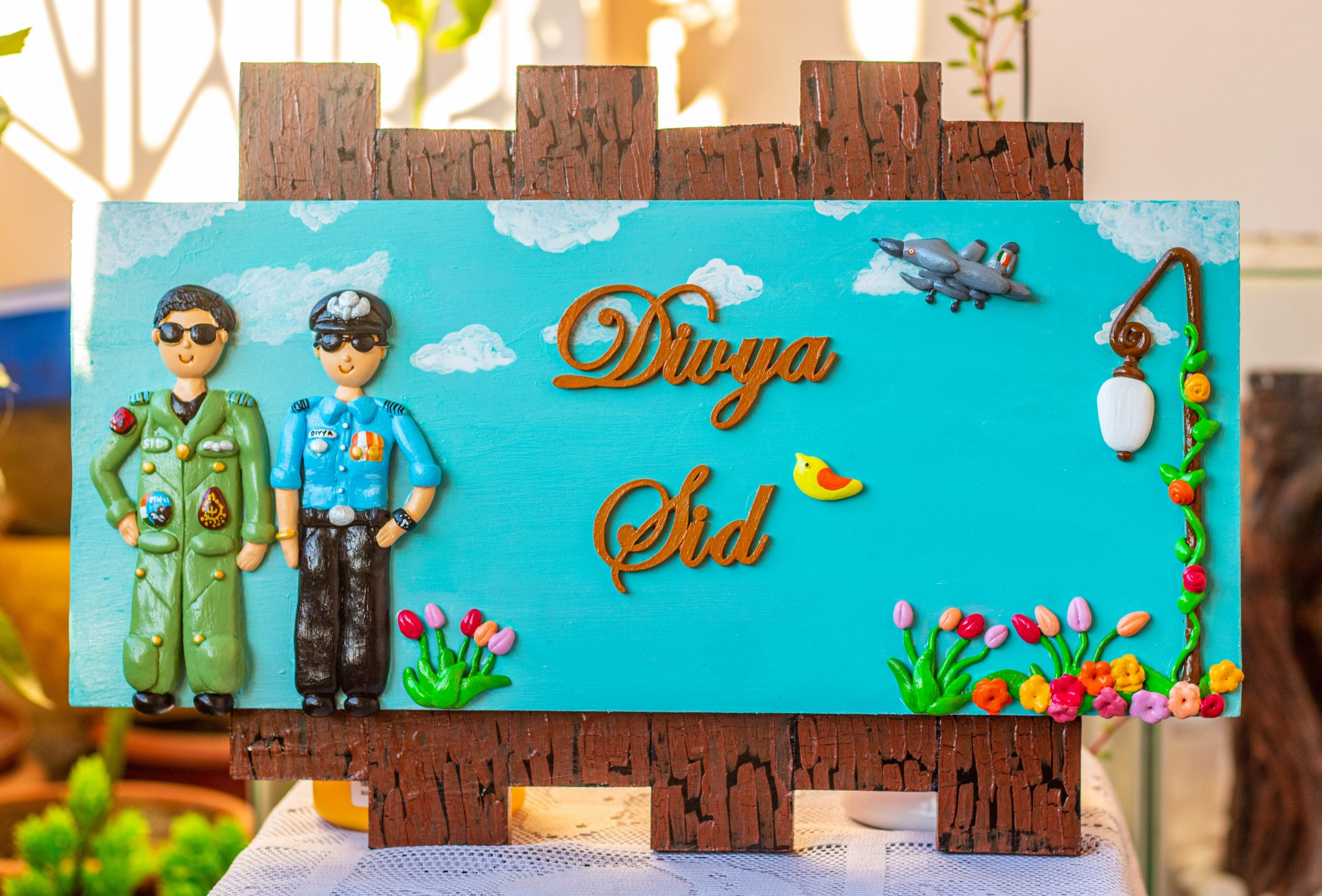 Buy best handmade online name plate designs for home Hitchki Unique Customized Indian Airforce themed nameplate