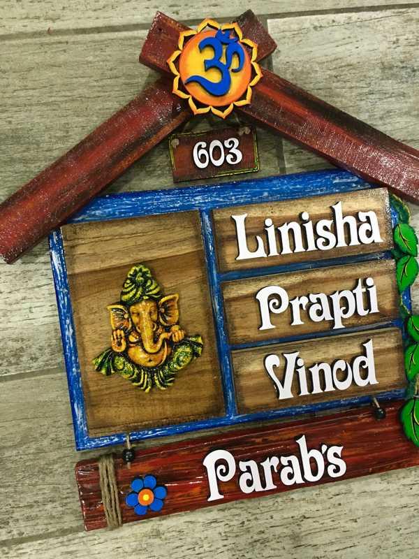 Ganesh Hut Wooden house name plates  house name plate bangalore mumbai delhi 003