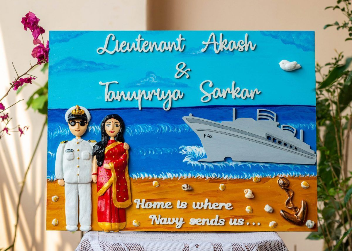 Customized Handcrafted Indian Navy Themed Nameplate  indian navy nameplate