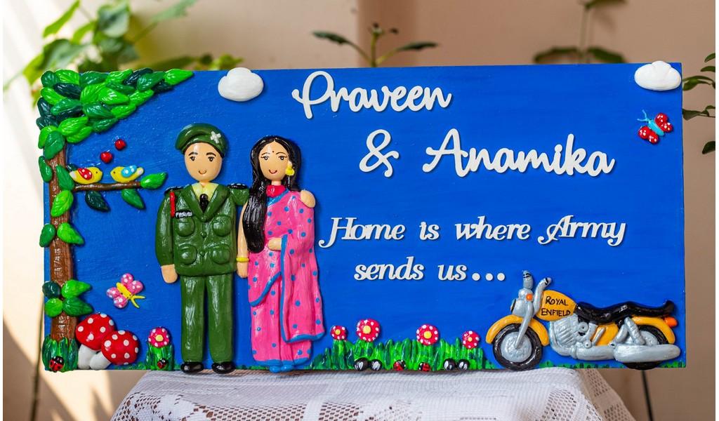 Customized Handcrafted Indian Army Themed Couple Nameplate  indianarmythemecouplenameplate