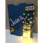 Buy Customized Wooden Nameplate Online In India Engraved nameplate jain 3 glow vase jugnu wooden name plate 1