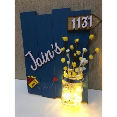 Glow vase Jugnu wooden nameplate  jain 3 glow vase jugnu wooden name plate 1