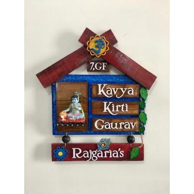 Krishna Hut Wooden house name plates  kavyahut wooden house nameplate
