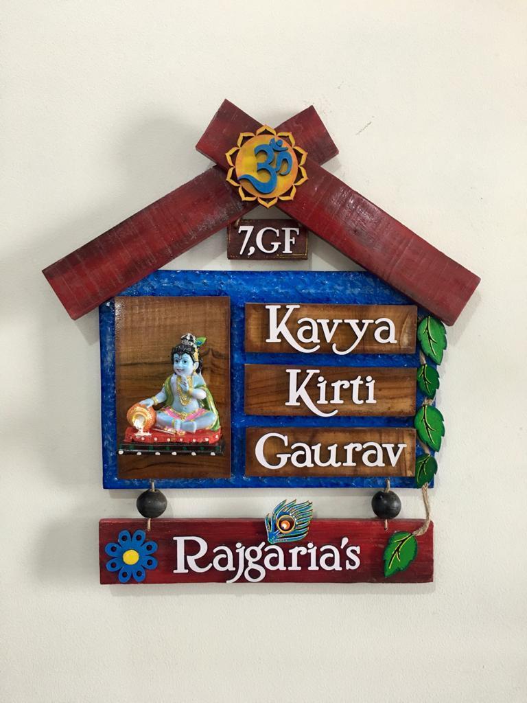 Best Handmade Gift Items Nameplate Key Holder Bangle Box Photo Frame Candles Hitchki kavyahut wooden house nameplate