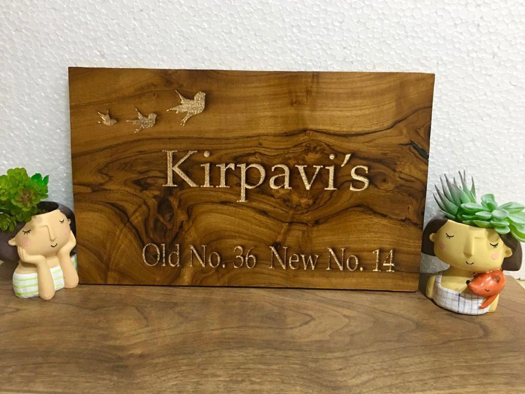 Beautiful Teak Wood Customized Wooden Nameplate  engraved nameplate