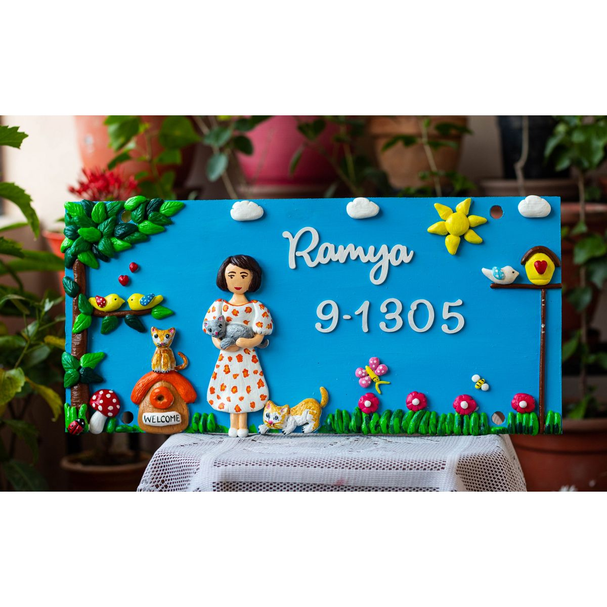 A lady With Her Cats Designer Nameplate