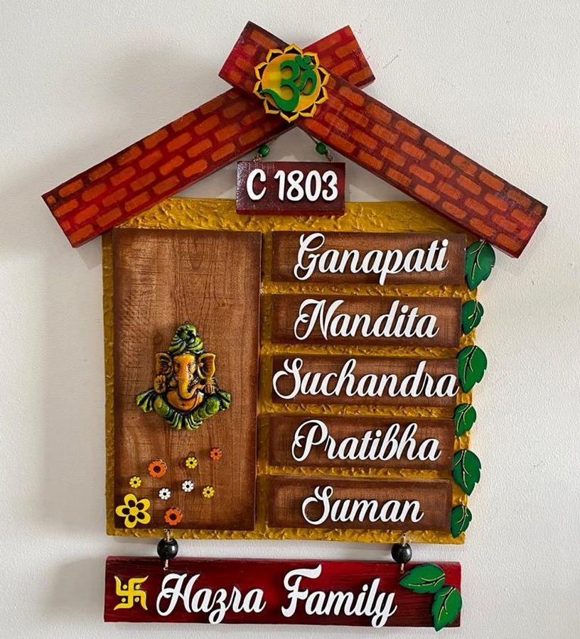 Ganesha Hut Wooden house name plates  hut nameplate