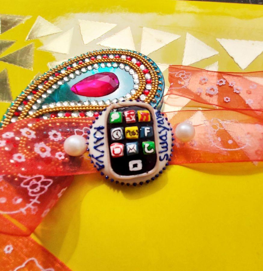 Handmade Customized Mobile Rakhi for Brother  mobile rakhi