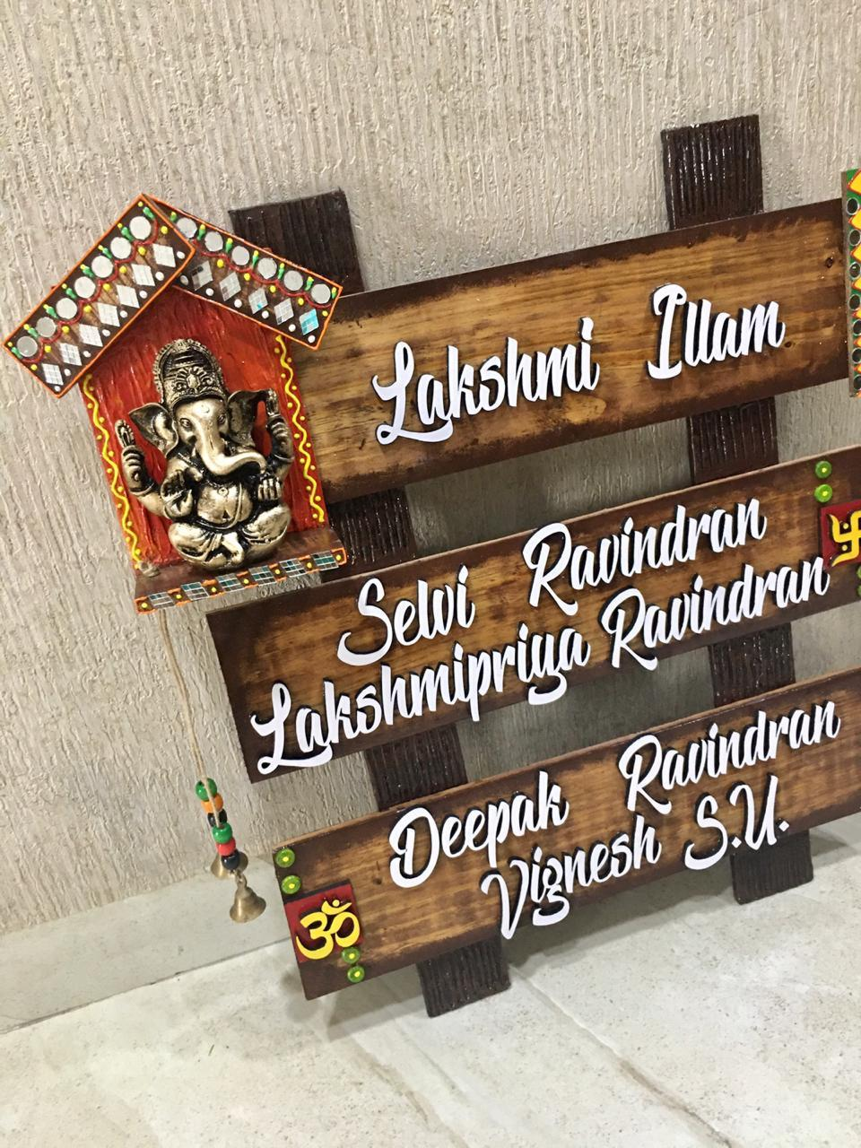 Om Ganesha Name Plate for House with Swastik  name plate for house near me 004