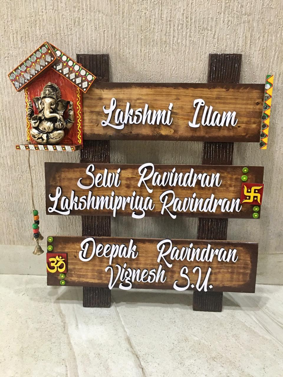 Om Ganesha Name Plate for House with Swastik  name plate for house near me 005