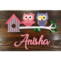 Cute Pink and Blue Kids Name Plate for Children