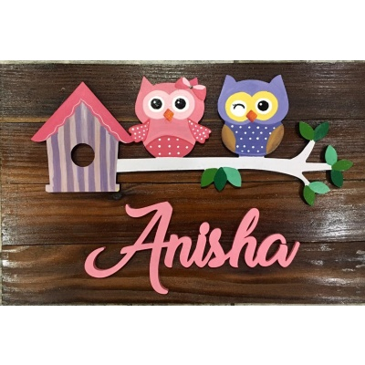 Buy best  beautiful name plate for kids online in Faridabad Hitchki Cute Pink and Blue Kids Name Plate for Children