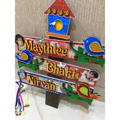 Kids Bird House Name Plate for Child Room3 Names  handmade name plate for house near me 009