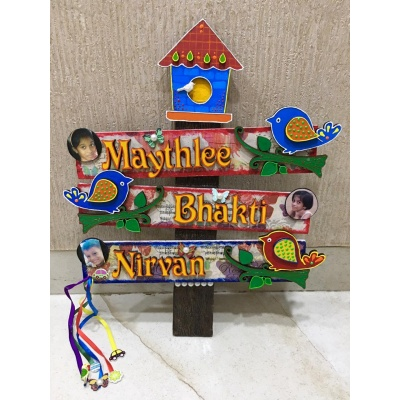Kids Bird House Name Plate for Child Room3 Names  Beautiful Kids Bird House Name Plate for Child