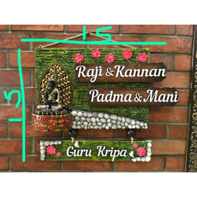 Lord Buddha With Marbles Name Plate For House  name plate for house near me 015