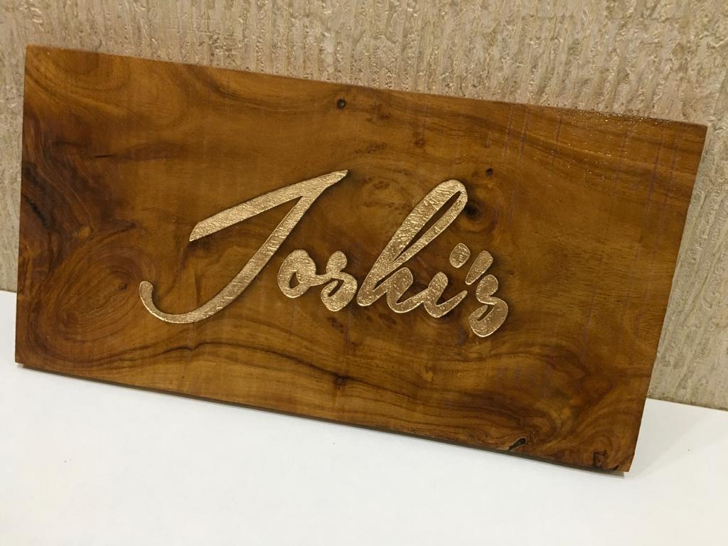 Unique Sheesham Wood Engraved Nameplate for House