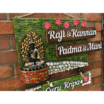 Lord Buddha With Marbles Name Plate For House  name plate for house near me 052