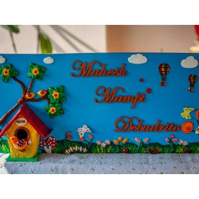 Creative Corner Birdhouse themed nameplate  natural wood kids nameplate for house room 001 1