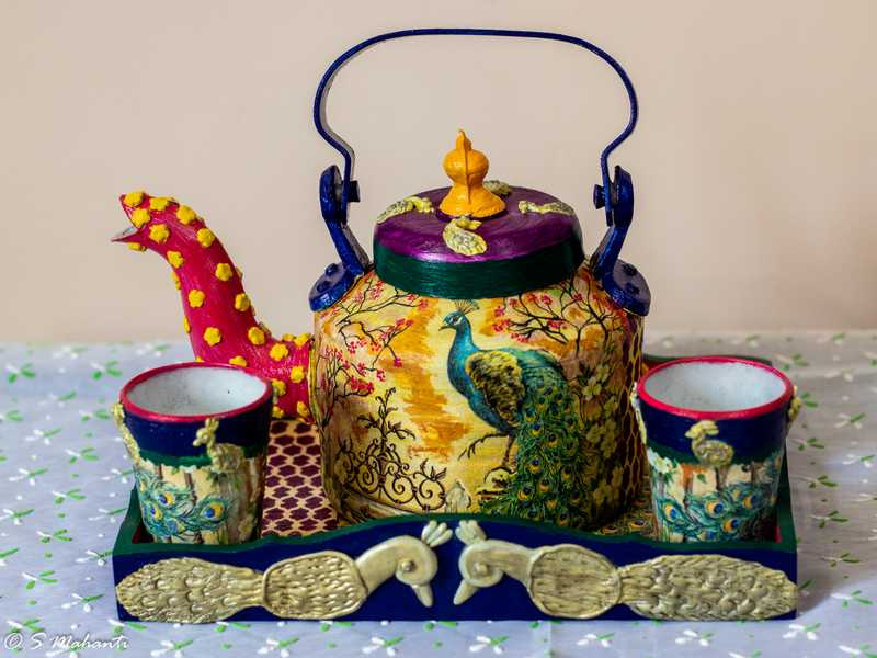 Creative Corner Peacock themed customized teapot set  natural wood kids nameplate for house room 001 2