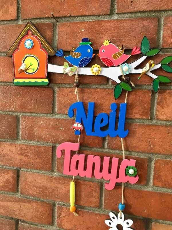 Two Little Birdie Kids Nameplate  natural wood kids nameplate for house room 001