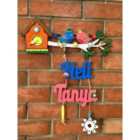 natural wood kids nameplate for house room 002