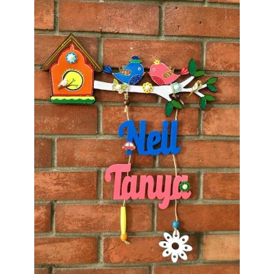 Two Little Birdie Kids Nameplate  natural wood kids nameplate for house room 002