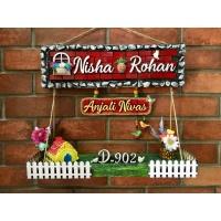 nisha rohan dream house wooden nameplate
