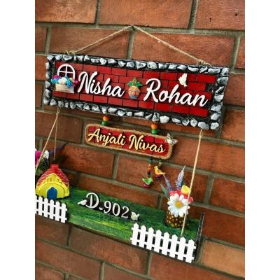 Dream House twin Nameplate  nisha rohan3 dream house wooden nameplate