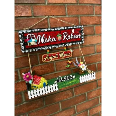 Dream House twin Nameplate  nisha rohan4 dream house wooden nameplate