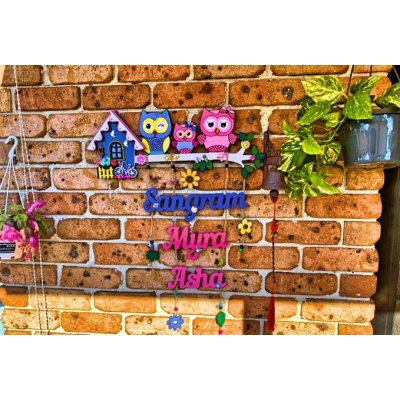 Cute Owl Designer Name Plates for Family with Kids  owl theme kids nameplate