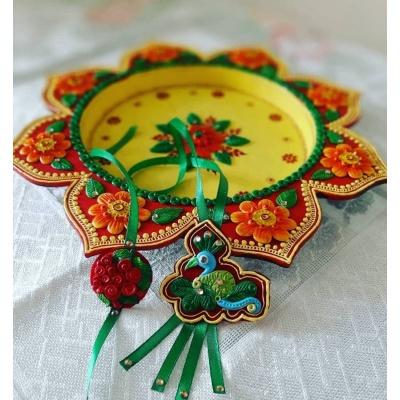 Beautiful Customized Peacock Rakhi For Your Brother And Bhabhi  COUPLE peacock rakhi