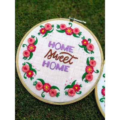 The Pink Umbrella  Floral Hand Embroidered Wall Hoops  pink umbrella hitchki creative handmade gifts 02 0003