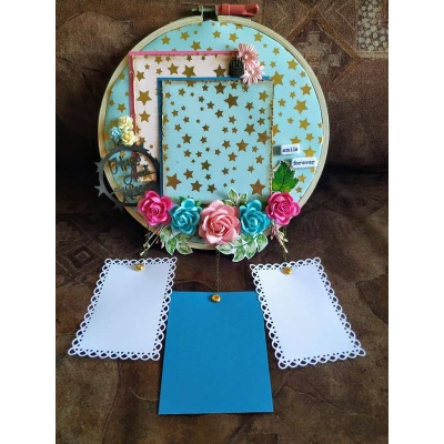 The Pink Umbrella  Blue Gold Foil Memory Catcher  pink umbrella hitchki creative handmade gifts 02 0007